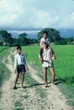 Jeff Gaura wearing Boy Scout pants in nepal.