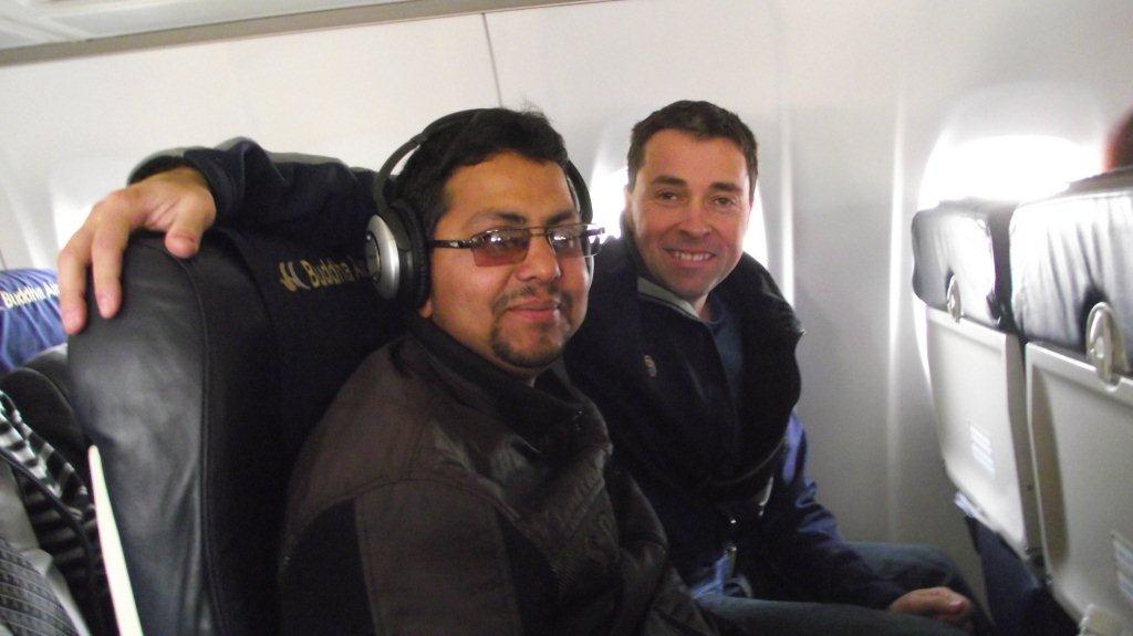 Nav Raj Adhikari on his first plane flight with Jeff Gaura
