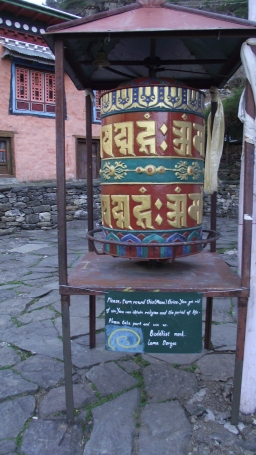 Tibetan prayer wheel on the way up to Everest