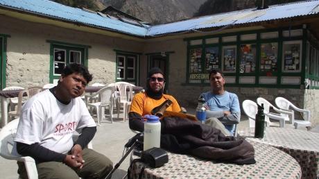 Jeff Gaura, Khopi Ram and Nav Raj resting at a tea shop on the way up to Namche Bazaar.