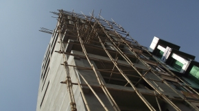 Bamboo as a scaffolding material for skyscrapers in Kathmandu, Nepal