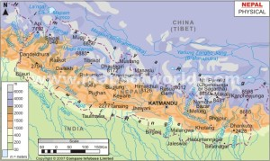 Map of Nepal.  The blue represents the Himalaya, the world's highest mountain range.  To the north is China.  To the south is India.