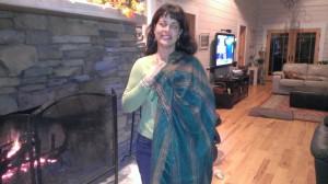 Linda Gaura showing us a Nepali Blanket