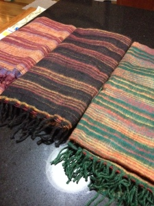 These are Yak hair blankets made in Nepal that The Nepal Project uses to raise money for schools and education