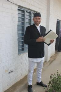 Jeff Gaura wearing a dauwa suruwal